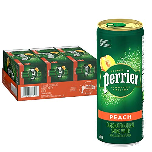 Perrier Peach Flavored Carbonated Mineral Water, 8.45 Fl Oz (30 Pack) Slim Cans