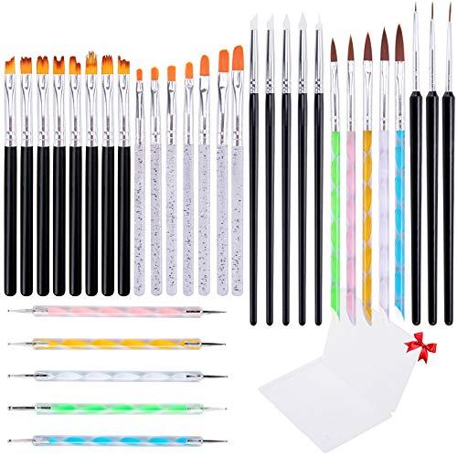 BQTQ 34 Pcs Acrylic Nail Art Brushes Set UV Gel Nail Brush Double Ended Nail Dotting Pen Liner Brushes Silicone Nail Art Pen Brush Flower Nail Paint Brush for Acrylic Nail Painting