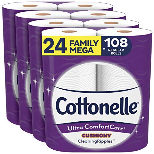 Cottonelle Ultra ComfortCare Toilet Paper with Cushiony CleaningRipples, Soft Bath Tissue (24 Family Mega Rolls = 108 Regular Rolls)