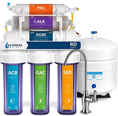 Express Water Reverse Osmosis Alkaline Water Filtration System 10 Stage RO Water Filter with Faucet and Tank – Under Sink Water Filter with Alkaline Filter for added Essential Minerals 50 GPD