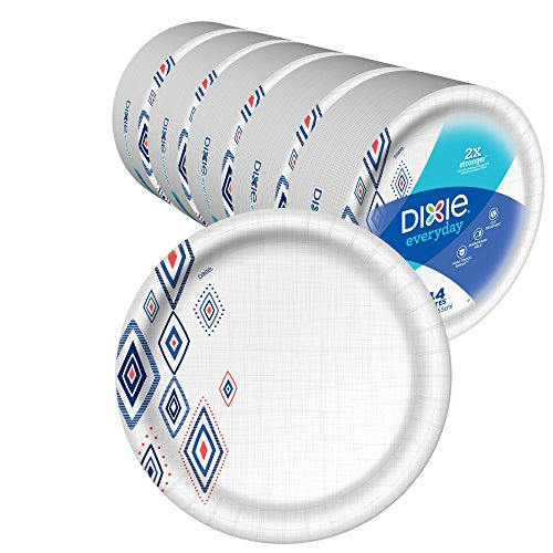Dixie Everyday Paper Plates,10 1/16' Dinner Size Printed Disposable Plate, Amazon Exclusive Design, 220 Count (5 Packs of 44 Plates)