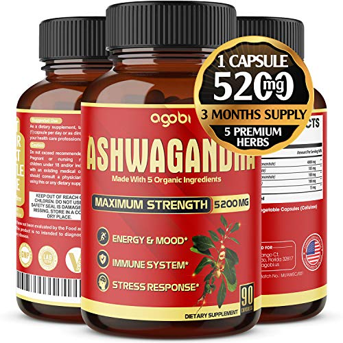 Organic Ashwagandha Capsules 5200mg, Highest Potency with Turmeric, Ginger, Black Pepper & Rhodiola |Mood Enhancer, Adrenal, Thyroid Support, Anxiety and Stress Relief Supplements -3 Months Supply