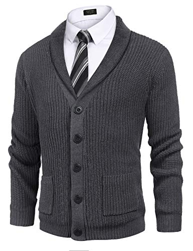 COOFANDY Men's Shawl Collar Cardigan Sweater Slim Fit Cable Knit Button up Cotton Sweater with Pockets (Large, Dark Grey)