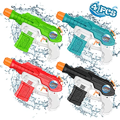 Water Guns Toys for Kids, 4 Packs Water Blasters with 150ml Capacity, Water Squirt Guns for Cat Training, Outdoor Pool Toys for Kids Age 3 4 5 6 7 8 Years Old