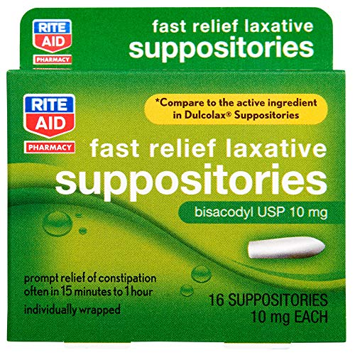 Rite Aid Fast Relief Laxative Suppositories, Bisacodyl USP, 10mg - 16 Count   Constipation Relief