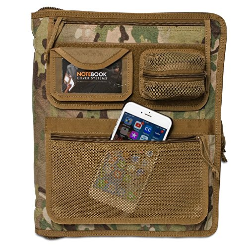 Tactical 3-Ring Binder Cover (fits 0.5-1 inch Binders), Military Field Admin Binder Cordura Case, Zippered (in Multicam)