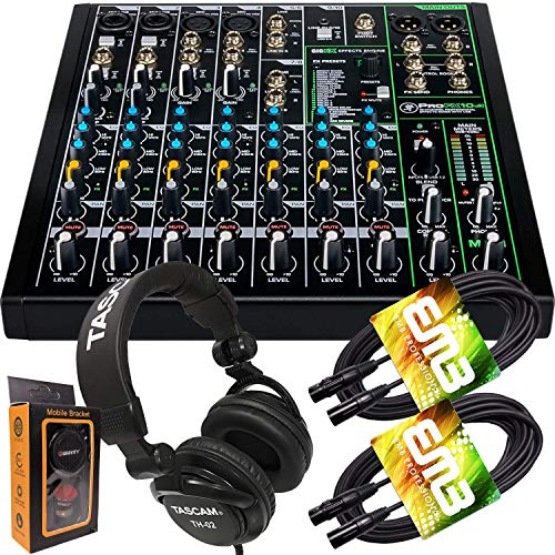 Mackie ProFX10v3 10-Channel Mixer with Built-in Effects and USB + Pro Headphone with Pair of EMB XLR Cable and Gravity Magnet Phone Holder Bundle, TH02 (2)+M