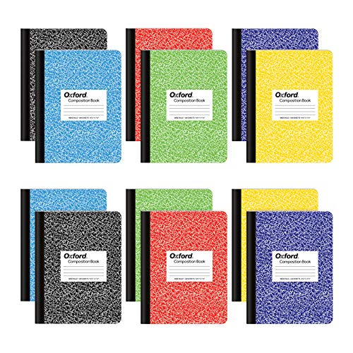 Oxford Composition Notebooks, Wide Ruled Paper, 9-3/4' x 7-1/2', Assorted Marble Covers, 100 Sheets, 12 per Pack, Colors May Vary (63794)