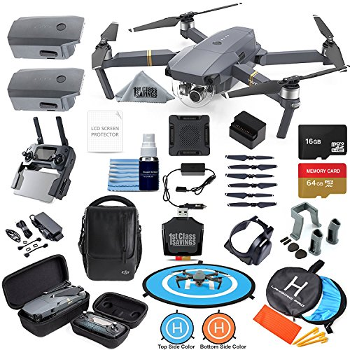 DJI Mavic Pro Drone Quadcopter Fly More Combo with 3 Batteries, 4K Professional Camera Gimbal Bundle Kit with Ultimate Flymore Essentials Kit